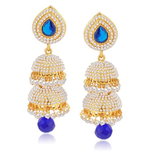 Excellent Gold Plated Pearl Double Jhumki Earrings
