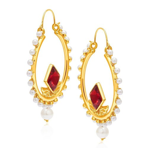 Fashionable Mehandi Plated Pearl Earring
