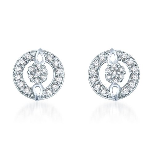 Rhodium Plated CZ Stud Earrings