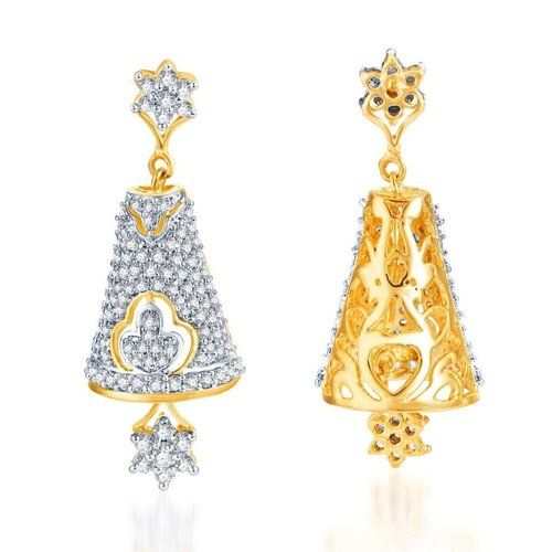 Gleaming Gold and Rhodium Plated CZ Jhumki Earrings