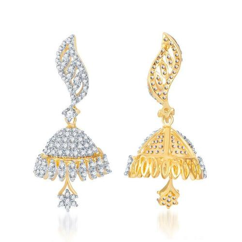 Trendy Gold and Rhodium Plated CZ Jhumki Earrings