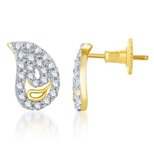 Delightful Gold and Rhodium Plated CZ Earrings