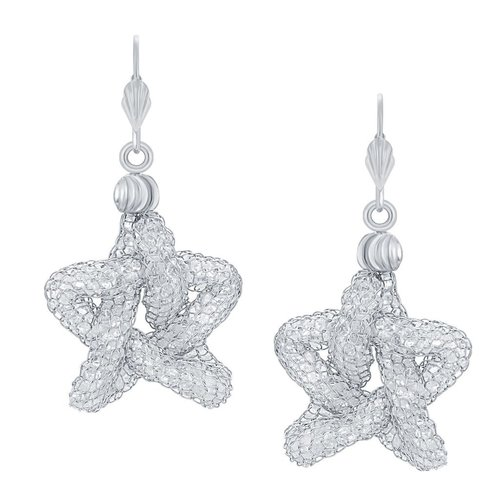 Star Shaped Stone Earrings Rhodium Plated AD Earrings
