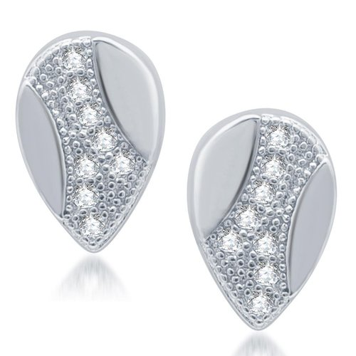 Exotic Rhodium Plated Micro Pave CZ Stud Earrings