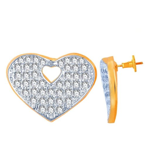 Heart Shaped Gold and Rhodium Plated Imported CZ Stud Earrings