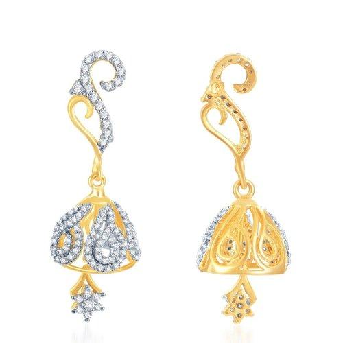 Modern Trendy Gold and Rhodium Plated CZ Jhumki Earrings