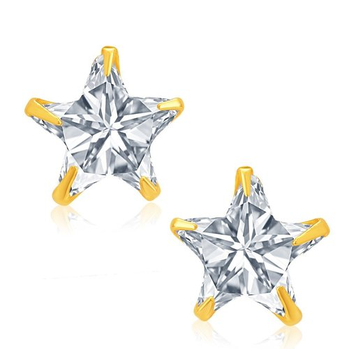 Creative Star Gold and Rhodium Plated CZ Stud Earrings