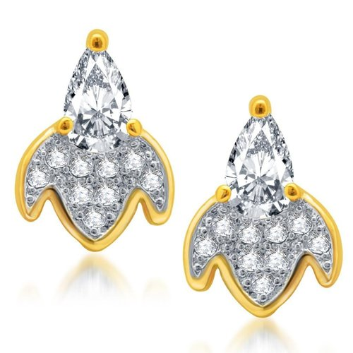 Ritzzy Gold and Rhodium Plated Micro Pave CZ Earrings