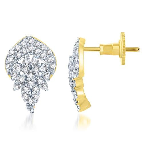 Crystal Leaf Gold and Rhodium Plated CZ Earring