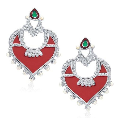 Divine Trendy Rhodium Plated AD Earrings