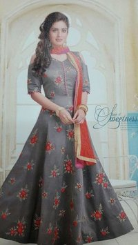 Embroidered Chanderi Salwar Suit