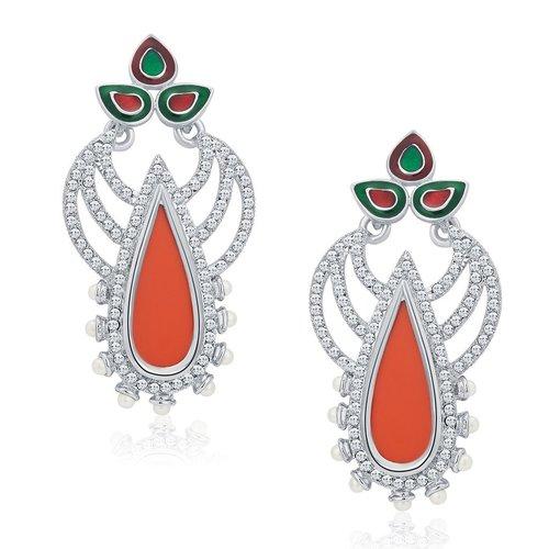 Fashionable Modern Rhodium Plated AD Earrings