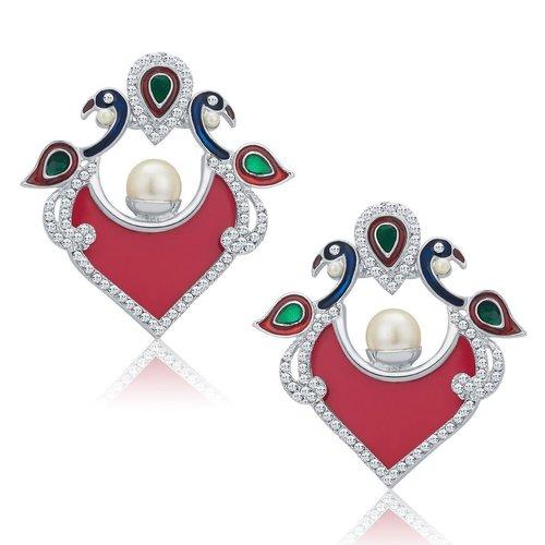 Pecock Shape Rhodium Plated AD Stud Earrings