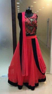 Embroiderer Crop Top Salwar Suit