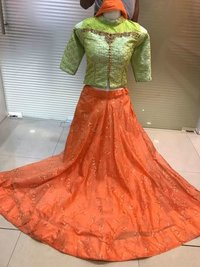 Off Shooulder Crop Top Salwar Suit