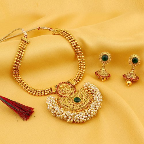 Chandbali Gold Plated Pearl Drop Necklace Set