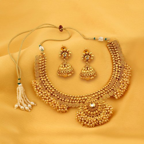 Designer Gold Plated Choker Necklace set With Chandbali Drops