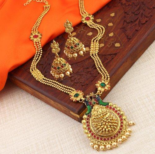 Designer Gold Plated Choker Chandbali Drops Necklace set