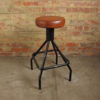 Leather Round Top Industrial Bar Stool