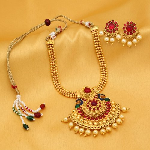 Golden Peacock Plated Necklace Set