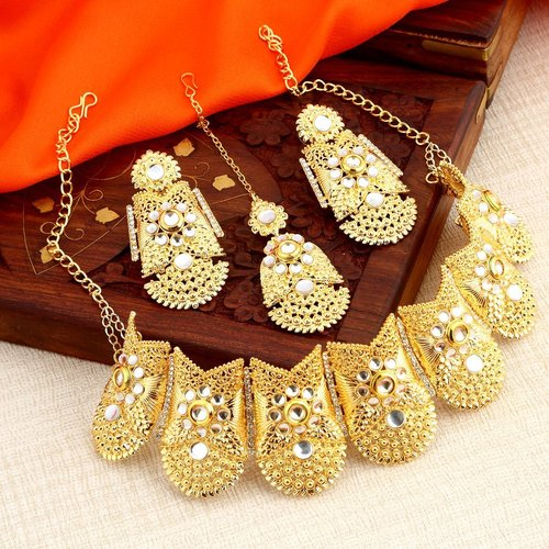 Indo Western Gold Plated Choker Necklace set