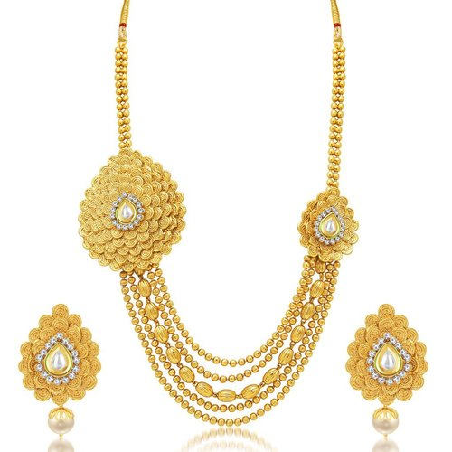 5 Layer Jalebi Gold Plated AD Necklace Set