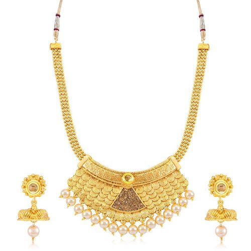 Gold Plated jalebi Necklace Set