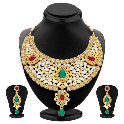 Designer Traditionally Gold Plated Kundan Necklace Set