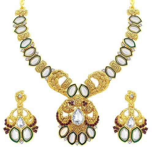 Elegant Gold Plated Kundan Necklace Set