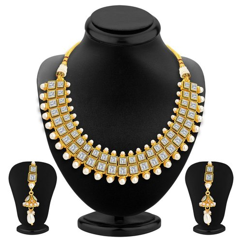 Designer Gold Plated Kundan Necklace Set