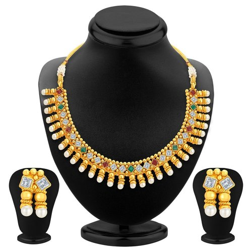 Gold Plated Kundan Pearl Drop Necklace Set