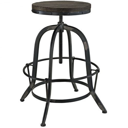 Wooden Round Top Industrial Bar Stool