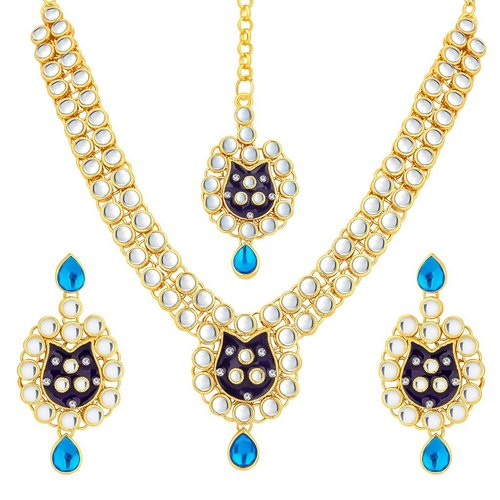 Multicoloured Gold Plated Kundan Necklace Set