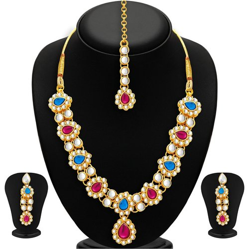 Multicolored Modern Gold Plated Kundan Necklace Set