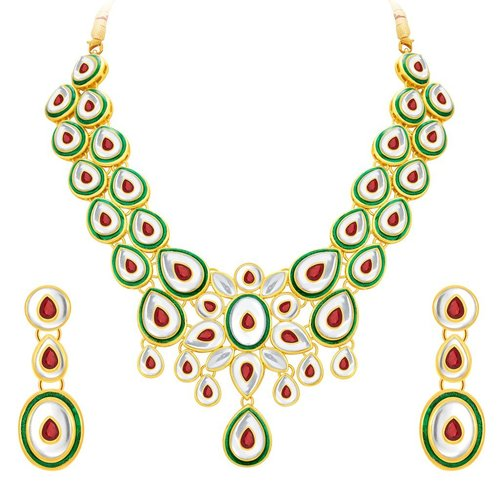 Peacock Leaf Gold Plated Kundan Necklace Set