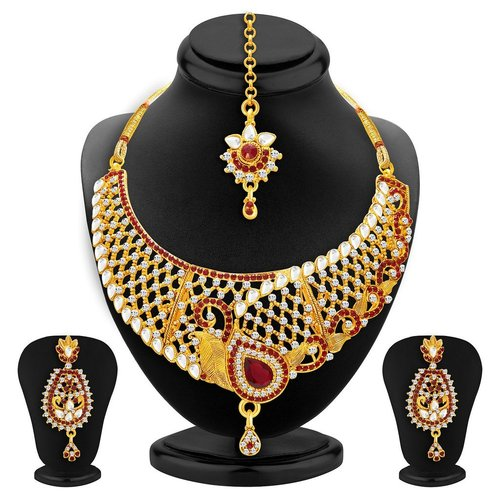 Peacock ShapeTraditionally Gold Plated Kundan Necklace Set