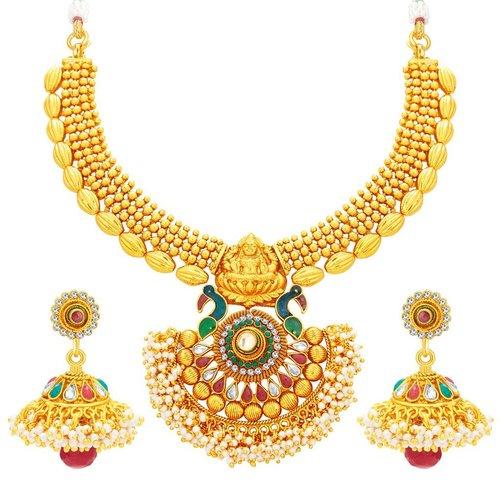 Goddess Laxmi Peacock Gold Plated Chocker Necklace Set