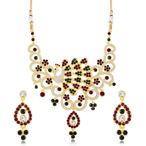 Colorful Peacock Shape Gold Plated AD Necklace Set