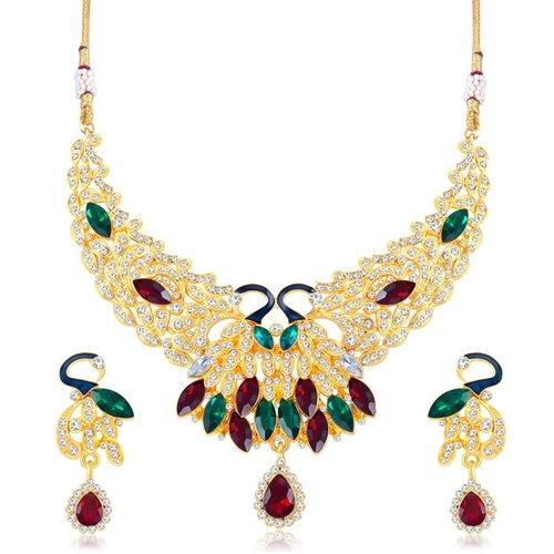 Designer Peacock Shape Gold Plated AD Necklace Set