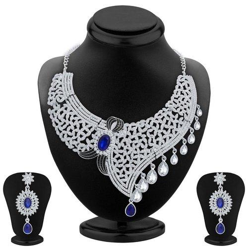 Designer Rhodium Plated AD Necklace Set