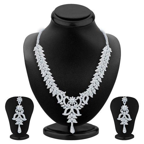 Stylish Rhodium Plated AD Necklace Set