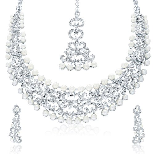 Eye-Catchy Rhodium Plated AD Necklace Set