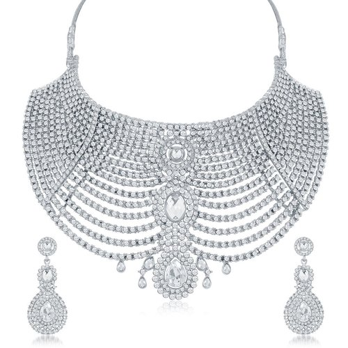 Rhodium Plated AD Chocker Neckalce Set