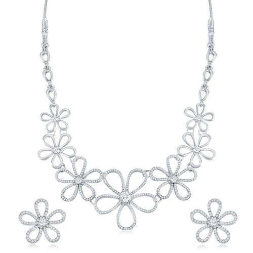Floral Rhodium Plated AD Necklace Set
