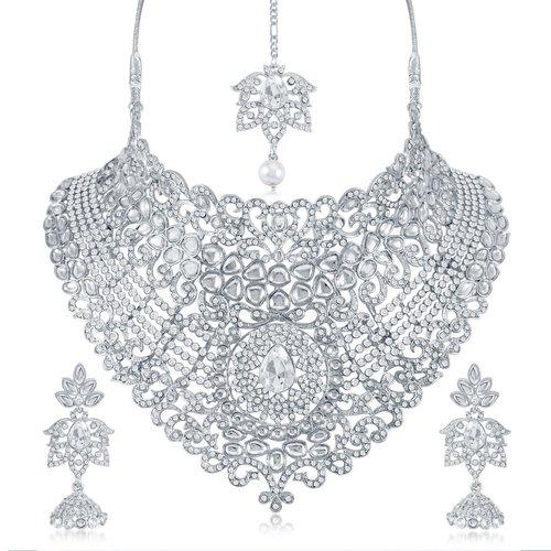 Swarovski Rhodium Plated Necklace Set