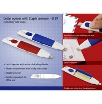 Letter Opener With Staple Remover And Sticky Note Strips