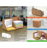 Folding Wooden Cube With Calendar (With Memopad And Tumbler)