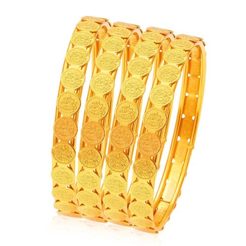 Glamorous Temple Jewellery Gold Plated Coin Bangle Set Of 2 Pairs
