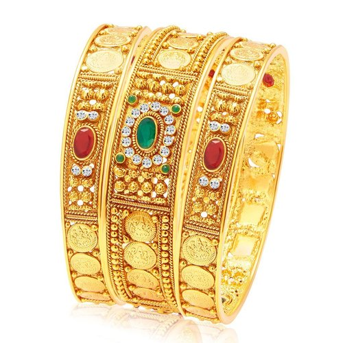 Temple Jewellery Gold Plated Coin Bangle