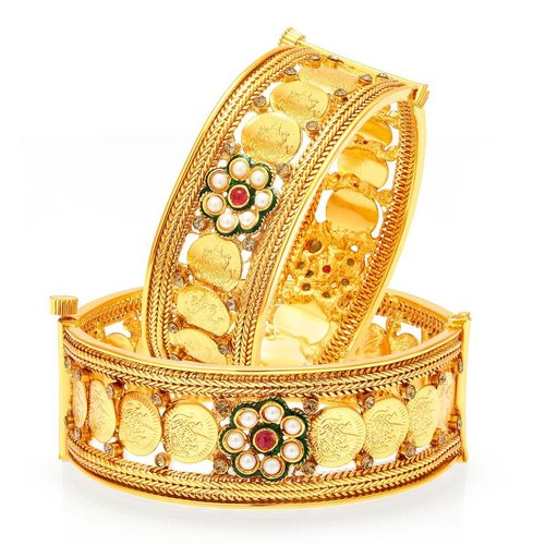 Temple Jewellery Gold Plated Coin Bangles